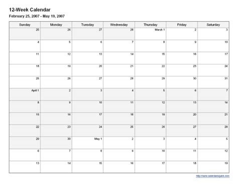12 Week Calendar Template printable 12 week calendar calendarsquick