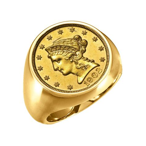 14k gold mens coin ring with a 2 50 liberty gold quarter