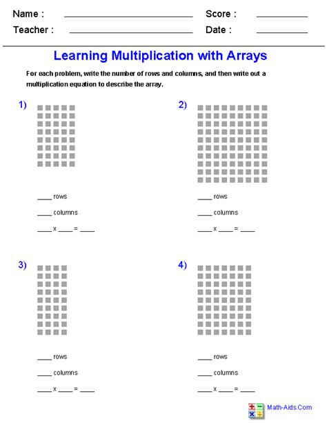 Arrays Worksheets by Multiplication Worksheets Dynamically Created