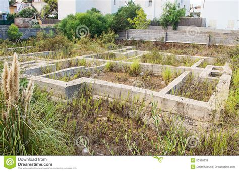 Concrete Block Home Plans by Old Abandoned House Foundation Stock Photo Image 50378639