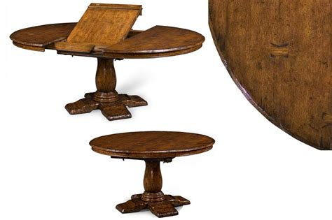 60 Inch Round Rustic Oak Dining Table And Self Storing Leaf 60 Dining Table With Leaves
