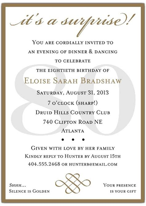 10 Sle Images 80th Birthday Party Invitations Templates For Your Loved Ones Birthday Party 80th Birthday Invitations Templates