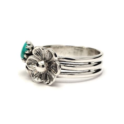 three band silver flower ring with turquoise silver