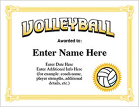 printable volleyball certificates of achievement volleyball certificates free award templates