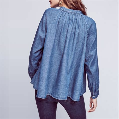 Lace Up Denim Blouse embroidered lace up sleeve shirt blue