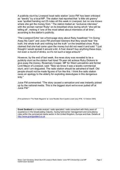 Radio Station Giveaways - news cash giveaway street stunt of liverpool radio station quot juice f