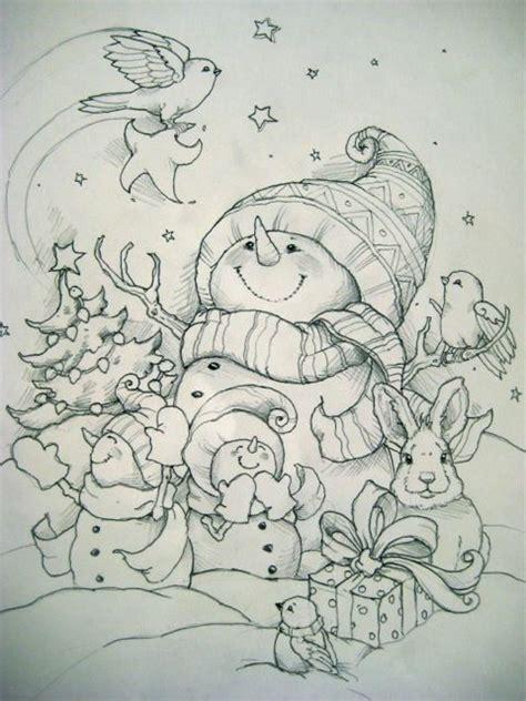 snowman scene coloring page coloring for adults kleuren voor volwassenen painting