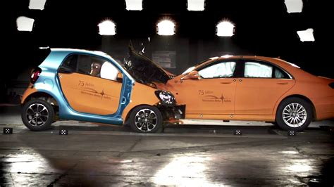 smart car crash smart fortwo vs s class crash test youtube