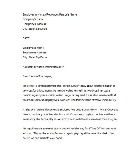 termination letter template employee termination notice template 10 free word excel pdf