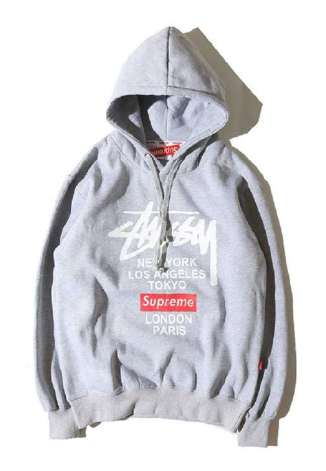 discount supreme clothing supreme x stussy classic printing gray hoodie sale