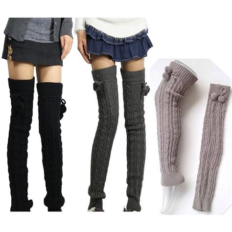 winter womens soft cable knit knee boot thigh