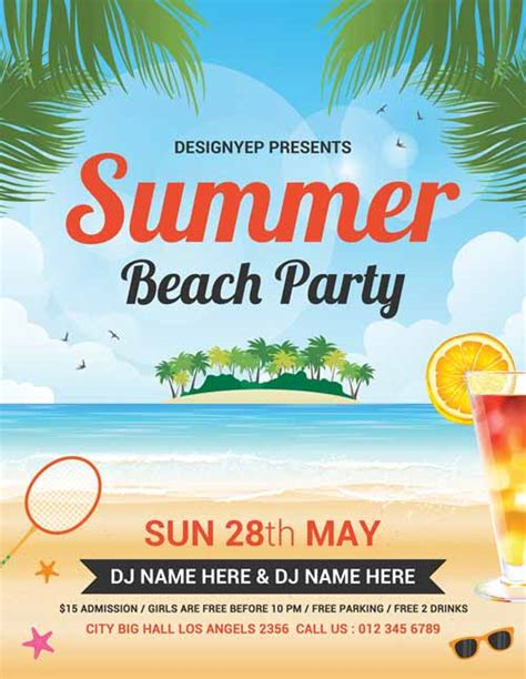 summer event flyer template summer free flyer psd template