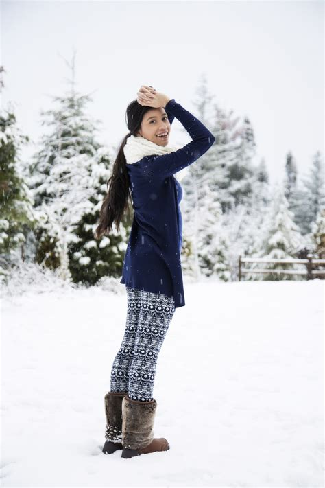 snow outfits with leggings and boots let it snow happy holidays