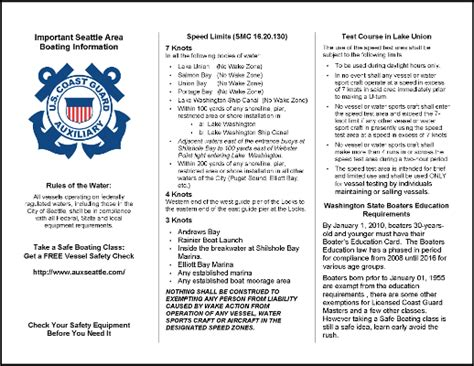 Pa And Pe Help Boating Safety Tips Tricks Thoughts From Captnmike Presentation Handout Template Word