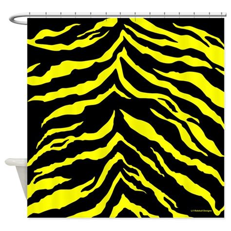 black yellow shower curtain yellow and black tiger stripes shower curtain by rainbowhot