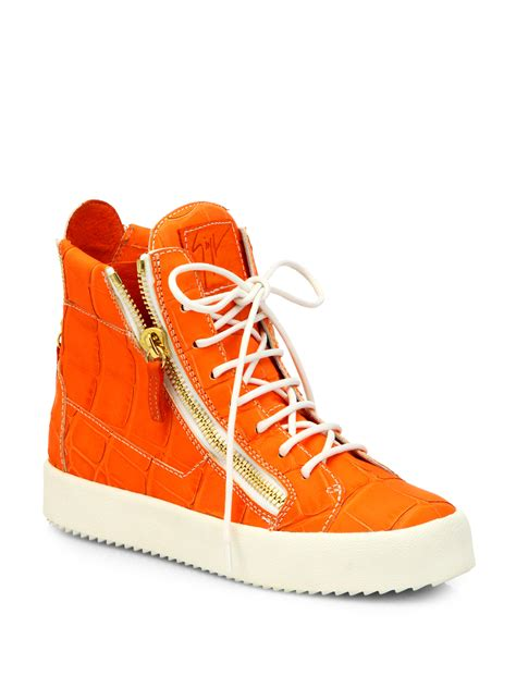 orange shoes for lyst giuseppe zanotti croc print leather high top