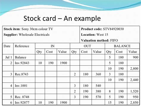 Stock Record Card Template by Chapter 8 Perpetual Inventory System Clc