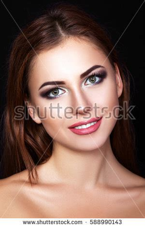 that hair that smile who would believe that actress young brownhaired sexy girl over gray stock photo