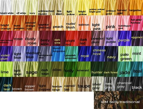 Colored Cotton solid colored cotton fabric shower curtains in 66 colors
