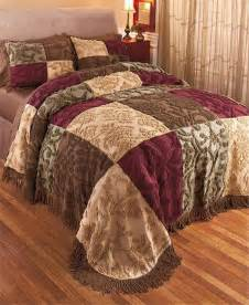 chenille toned patchwork fringed bedspread bedding