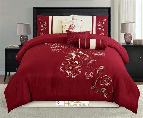 maroon bedding sets 7 p embroidery summer floral blossom vine comforter set