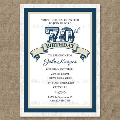 7 best images of 70th birthday invitations printable
