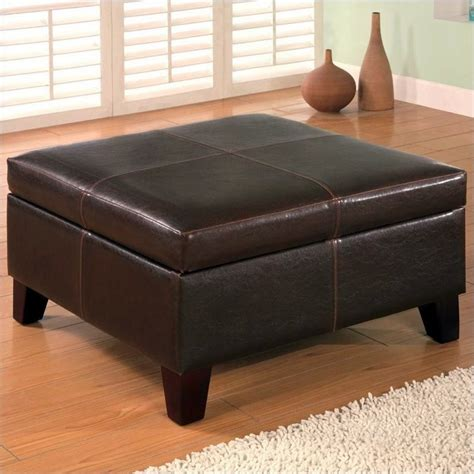 Brown Leather Square Storage Ottoman Coaster Brown Cont Square Faux Leather Storage Ottoman Ebay