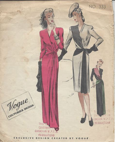 dress pattern vintage vogue 1940s vintage vogue sewing pattern b34 dress r878 ebay