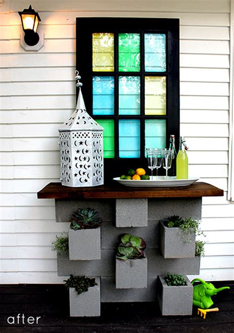 After You D before after cinder block planter bar design sponge