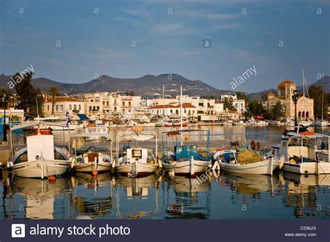 buy fishing boat in greece traditional greek fishing boats in aegina greece stock