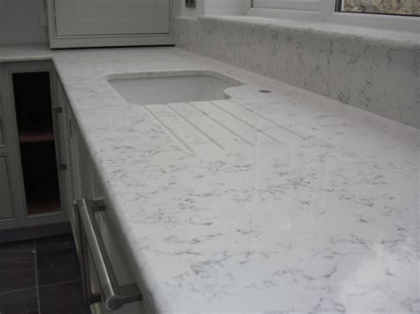 All White Kitchen Designs by Lyra Quartz Worktops Silestone Contemporary