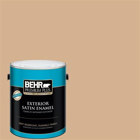 behr premium plus 1 gal home decorators collection creme de caramel satin enamel exterior paint