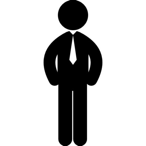Standing business man with tie - Free people icons
