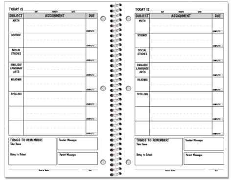student assignment planner template 6 best images of middle school printable planner pages