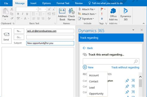outlook 365 email template the microsoft dynamics 365 app for outlook encore