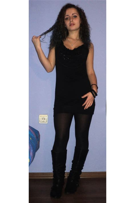 black leather studded boots black fitted cotton dresses