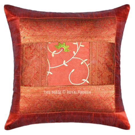 Handcrafted Pillows - brown unique handcrafted floral silk embroidered
