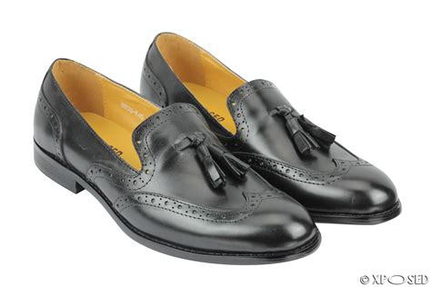 mens brogue loafers mens 1920s vintage real leather tassel loafers slip on