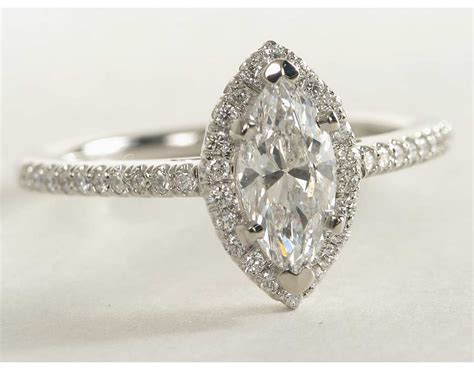 Marquise Engagement Ring by Marquise Cut Halo Engagement Ring In 14k White