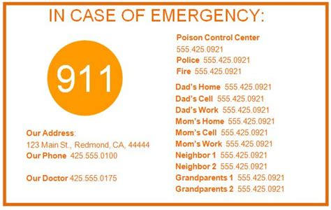 Emergency Numbers Card Template by Hurricane Preparedness Tesla Edison Cage