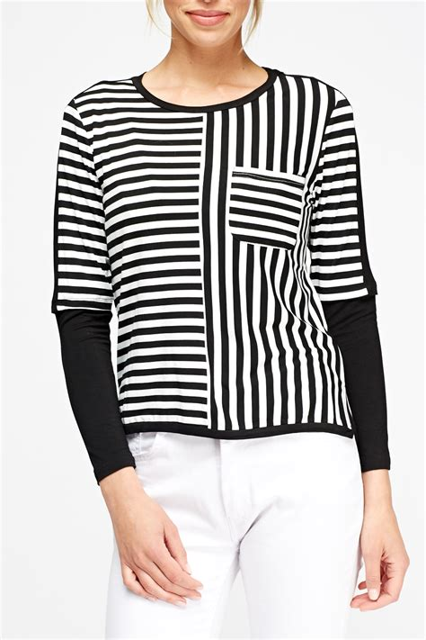 Sleeve Striped Top striped sleeve top navy or black just 163 5