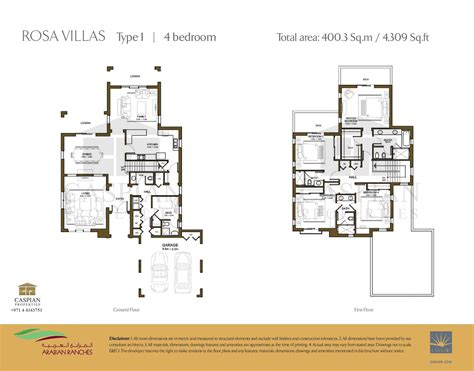 4 Bedroom Floor Plan arabian ranches rosa floor plans