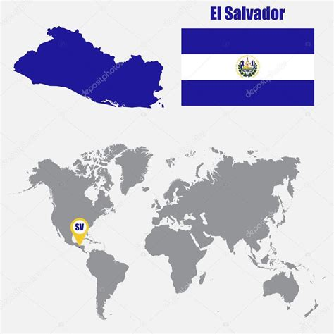 el salvador on world map el salvador map on a world map with flag and map pointer