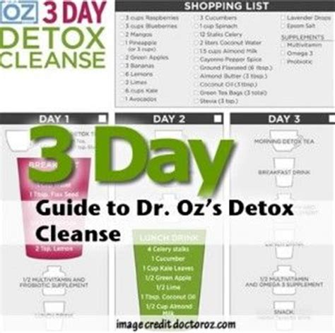 Dr Oz 3 Day Detox by 3 Day Guide To Dr Oz S Detox Cleanse