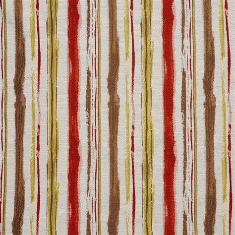 watercolor upholstery fabric brown and burgundy yellow watercolor paint stripes