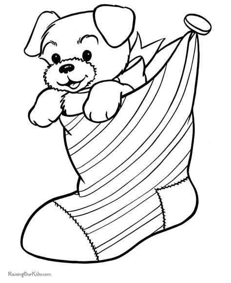 christmas stocking colouring pages