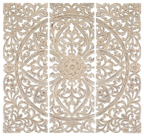 Home Depot Kitchen Design Canada by Set Of 3 Carved Wood Wall Panels Antique White Floral Home