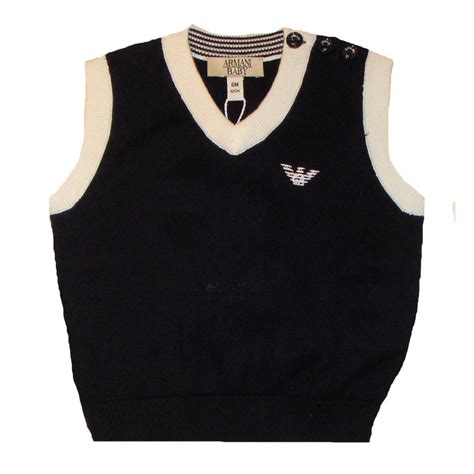 Boys Top 6806 White Armani armani baby boys navy and white knitted tank top