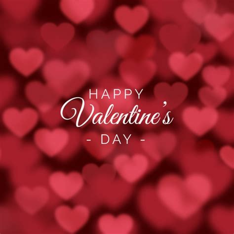 v day valentines day background with blurred hearts vector