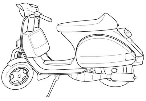 gambar sketsa motor vespa bahasapedia bahasapedia